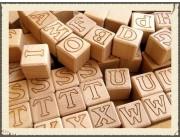 Set cuburi lemn cu litere - 31 bucati