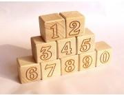 Set 10 cuburi lemn cu numere