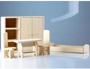 Set mobilier pentru papusi - dormitor mare lemn natur