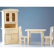 Set mobilier pentru papusi - bucatarie lemn natur