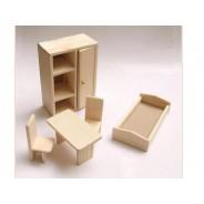 Set mobilier papusi - dormitor mic lemn natur