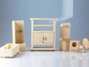 Set mobilier baie pentru papusi - natur