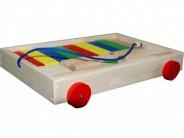 Set cuburi lemn colorate cu carucior